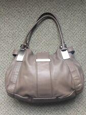 Grey Leather Large Handbag Satchel w/Silver Hardware | Banana Republic