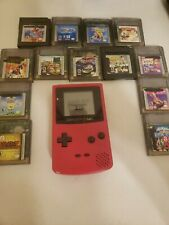 Nintendo Game Boy Color Pink Handheld Console CGB-001 Bundle 13 Games