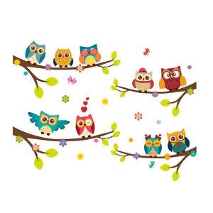 Family Home Wall Sticker Cartoon Owls The Tree Decal Art Children's Bedroom DIY