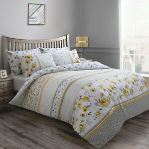 Reversible Grey Ochre Yellow Floral Marble Duvet Cover & Pillowcase Bedding Set