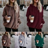 Womens Girls Winter Fluffy Winter Tops Hoodie Sweatshirt Pullover Blouse Loose