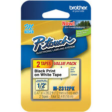 Brother P Touch Double Pack M Tape 12 Inch Black On White M 2312pk Sealed