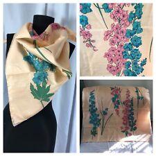 "100% Pure Thai Silk Scarf Raw Woven Floral Orchids Peach Blue Pink Green 35 x35"""