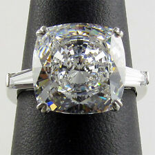 SPECIAL ORDER 14K SOLID GOLD R00265 6CT CZ CUSHION / BAGUETTE 3 STONE RING
