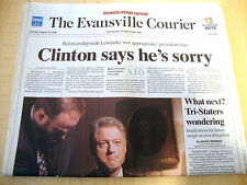 "Collectible Newspaper August 18, 1998 President Clinton Says ""He's Sorry!"""