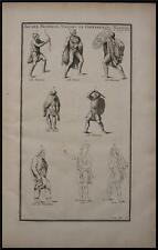 1719 Antique Print Dacia German Gallic Soldiers Archer