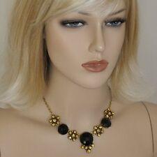 Collier Kette Strass Schwarz gold -farbig Blumen Strasscollier Blumen Halskette