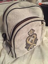 Juicy Couture Crown Velour Embroidered Logo Backpack Smoke Gray Leather Trim