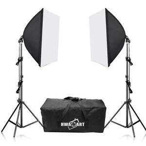 Continuous Lighting Softbox Studio Kit Photography Light Stand Photo Video UK