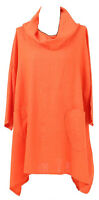 New Womens Italian Lagenlook Quirky Cowl Neck 2 Pocket Plus Size Linen Tunic Top