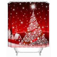 Modern Waterproof Polyester Fabric Bathroom Shower Curtain Xmas Decor+Grommet