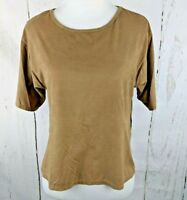 Women's SUN & SHADOW Short Sleeve XS Sueded Crop Top Shirt Side Split Brown