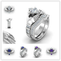 925 Silver Creative Women Jewelry White Sapphire Wedding Party Ring Size 6-10