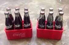 "12 VTG Miniature 3"" Glass Coca Cola Pop Soda Bottles & Coca Cola Plastic 6 Pack"
