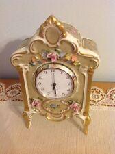 """Vintage LINDNER Porcelain mantle clock;hand painted from Germany QUARTZ """"L@@K"""""""