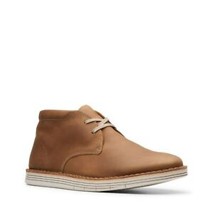 NWT - CLARKS Men's 'FORGE STRIDE' Tan LEATHER UPPER CASUAL SHOES - 9.5