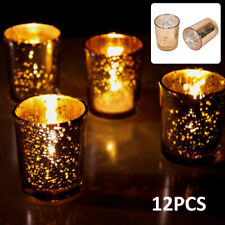 Mercury Golden Glass Tea Light Candle Holders Votive Home Wedding Decor ×12