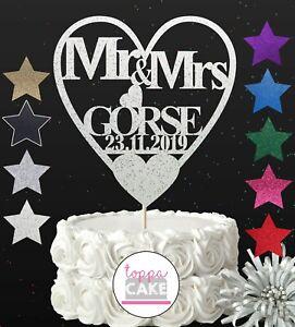 Personalised Wedding Cake Topper Mr Mrs Bride and Groom Toppers Keepsake