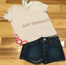 Gap Kids Girls Size 7 Outfit. Pink Gap Logo Shirt & Denim Shorts. Nwt