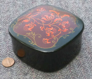 Vintage Japanese Lacquer Box Makie Covered Pink Thistle RARE CORAL Tea Caddy