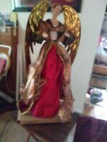 HUGE Angel Christmas Tree Topper Doll Vintage Ornament Holiday Decor RARE BEAUTY