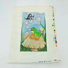 Hand Painted Needlepoint Pattern Fairy Pixie Imp Sprite Elf Frog Bubbles Whimsy