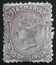Rare 1871 Tasmania Australia 5/- Mauve sideface stamp Perf 11 1/2 Mint