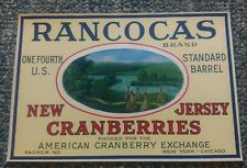 RANCOCAS Brand, **An Original Cranberry Crate Label**, New Jersey, IndianTeepees