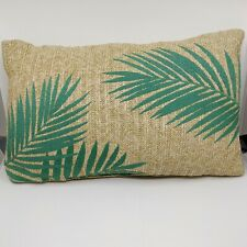 Tommy Bahama Indoor Outdoor Rafia Pillow Tropical Leaves Lumbar Throw Bolster