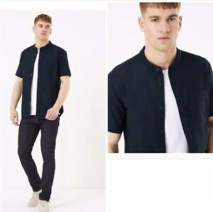 M&S 100%  Pure Cotton Grandad Collar Short Sleeve Navy Oxford Shirt 4XL