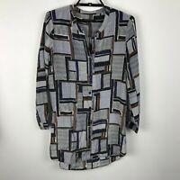 Nic + Zoe Blouse Size XS Geometric Print Long Sleeve Black Brown Silk Viscose