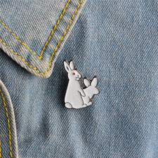 Cartoon Cute Two White Rabbits Evil Brooch Pins Jeans Clothes Jewelry Women EF