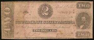 1863 $2 DOLLAR BILL CONFEDERATE STATES CURRENCY CIVIL WAR NOTE PAPER MONEY T-61