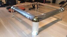 Karl Springer Style Lucite Brass Glass Square Coffee Table 47""