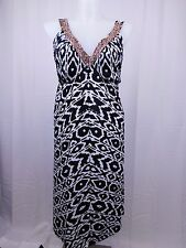 INC Plus Size Beaded Aztec Printed Handkerchief-Hem Dress 1X Black, White #4818