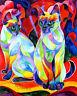 SIAMESE SWEETHEARTS 8X10 Framed Original Art on canvas Sherry Shipley