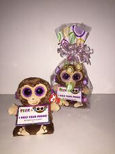 """TY CHIMPS 4"""" PEEK-A-BOOS SMART PHONE HOLDER IN CELLO-NEW WITH TAG *IN HAND NOW"""