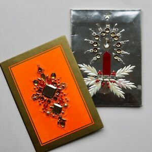 60s 70s vintage Norman Hartnell embellished bejewelled couture Christmas cards
