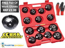"16 Pc Socket Type Oil Filter Removal Puller Cup Tool Kit Set Adaptor Garage 3/8"""