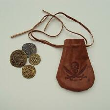 Pirate Coins & Leather Pouch / Bag Great Accessory for Costume/Treasure Chest