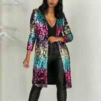 Women Autumn Cover Up Long Sleeve Sequins Metallic Open Front Cardigan Coat