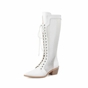 Women's Shoes Pointed Toe Riding Boots Knee High Mesh Hole Breathable Kuban New
