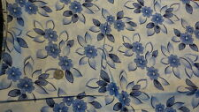 Vintage Cotton Fabric BLUE & NAVY BLUE FLORAL ON WHITE 1 Yd/38""