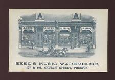 Lancashire Lancs PRESTON Seed's Music Warehouse Church Street Advert c1900s? PPC