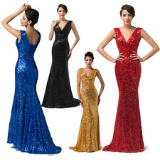Luxury Formal Bridesmaid Mermaid Sequins Evening Prom Long Maxi Dress Ball Gowns
