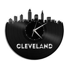 Cleveland Ohio Vinyl Wall Clock Cityscape Personalized Home Living Room Decor