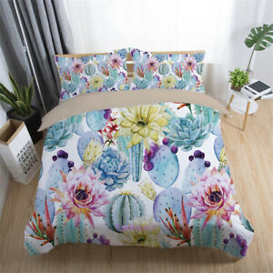 Cactus Floroal Wathet Duvet/Doona/Quilt Cover Set Single/Double/Queen/King Bed