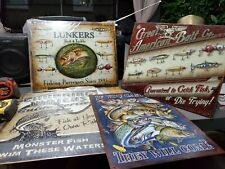 New listing 4 Fishing Tackle Vintage Fishing Retro Tin Metal Sign 16 x 13in
