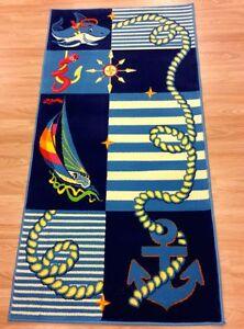 Blue Multi Colour Fish Sailing Print Kids Room Nursery Rug 82x160cm 50% OFF