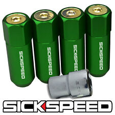 SICKSPEED 4 PC GREEN/24K GOLD CAPPED 60MM EXTENDED LOCKING LUG NUTS 1/2X20 L25